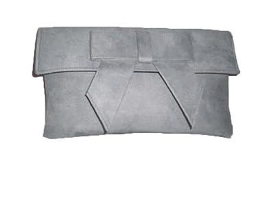fair price discount sale the best Light grey faux suede clutch bag Light grey suede clutch bag with bow  shoulder strap