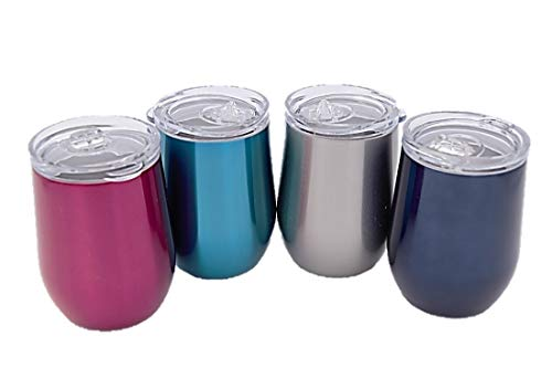 12 oz Wine Tumblers, 4 Pack, Sweat Proof, Dual Wall Vacuum Insulated, BPA free, 18/8 Stainless Steel, Keeps Drinks at the Perfect Temperature, Stemless with Lids (Blue)