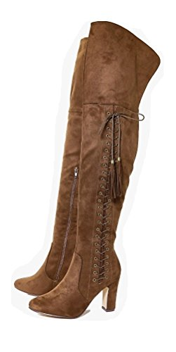 LADIES WOMENS LAURA EYELET DETAILED BLOCK HEEL THIGH HIGH LACE ZIP UP BOOT Camel (2742) 3sO19