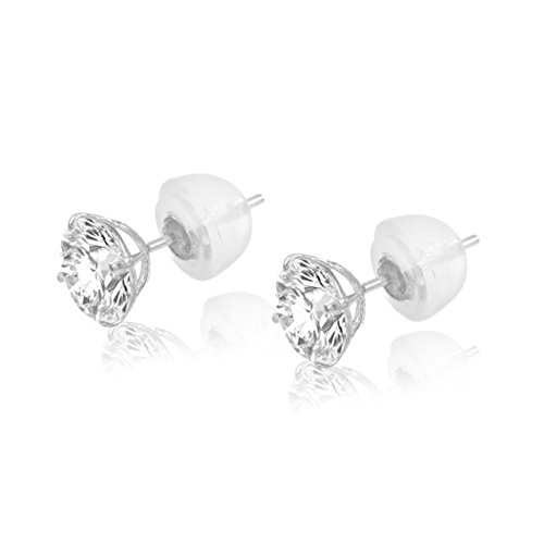 14K White Gold Brilliant Round Cut 4mm White Cubic Zirconia Basket Set Solitaire Stud Earrings