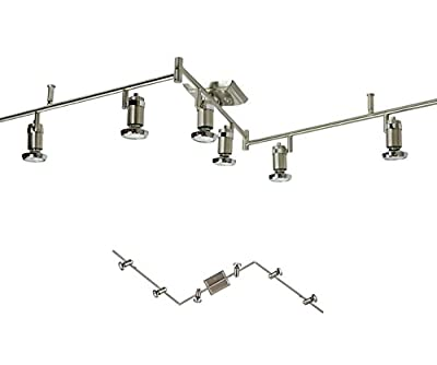 Modern Classy 6 Light Track Lighting Looks Great In Any Living Room Bedroom Office Bar Restaurants Can Be Use For Ceiling Wall Mount In A Brushed Nickel & Chrome Finished
