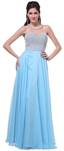 Meier Women's High Neck Sheer Back Pearl Pageant Formal Prom Party Dress Sky Blue-10
