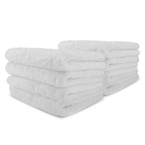 Luxury White Wash Cloths, Egyptian Cotton, Ultra Soft & Absorbent by Winter Park Towel Co. (Pack of 8)