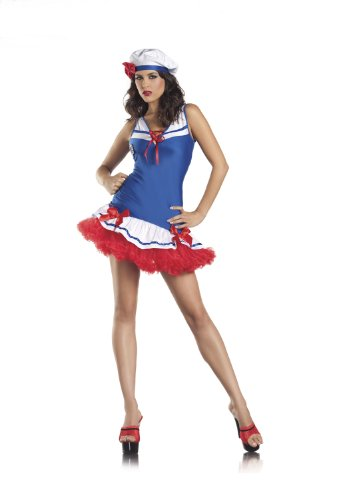 Be Wicked Costumes Women's Sexy Yacht Club Costume, Red/White/Blue, Medium/Large -