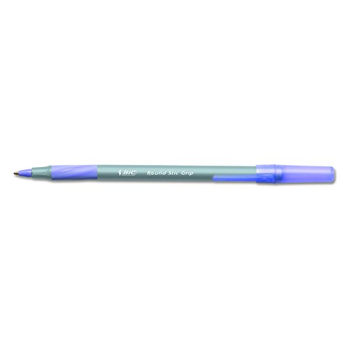BIC Round Stic Grip Xtra Comfort Ballpoint Pen, Medium Point (1.2mm), Purple, 12-Count Comfort Grip Ballpoint Pen