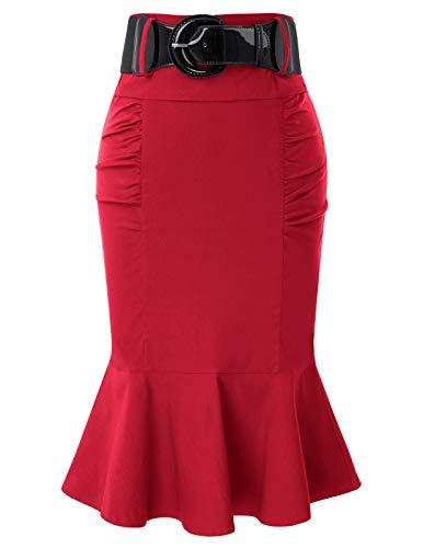 Women Red Skirt Vintage Retro Knee Length Red Skirts with Belt M BP627-3