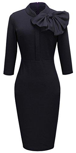 Homeyee Women's Vintage Bowknot 3/4 Sleeve Party Dress B244 (L, Black) US 8