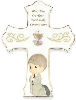 "Precious Moments, Communion Gifts, ""Bless You On Your First Holy Communion"", Boy, Bisque Porcelain Cross With Stand, #133410 (Personalized Precious Moments Cross)"