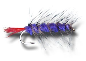 Woolly Worm - Purple Fly Fishing Fly - Size 8 - 6 Pack