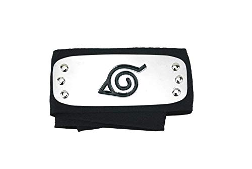 - Yulia Leaf Village Logo Metal Plated Headband Forehead Protector Cosplay Accessories for Naruto Fans - Black