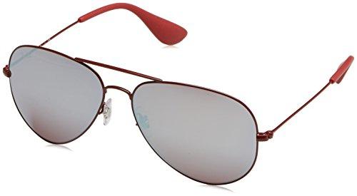 Ray-Ban Metal Unisex Aviator Sunglasses, Bordeaux, 58 - Red Ban Ray Aviator