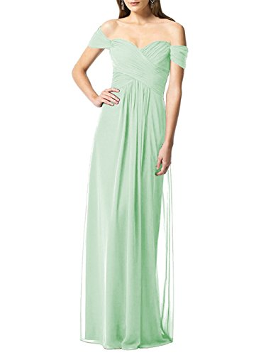 Off Shoulder Bridesmaid Dresses Womens Chiffon Long Ruched Evening Formal Gown Mint US14 ()