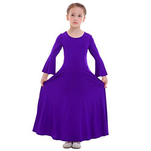 (Kid Girls Princess Liturgical Praise Dress Long Bell Sleeve Ruffled Lyrical Dance Dress Worship Costume Full Length Loose Fit Casual Pleated Dress Ballet Dancewear Praisewear Purple 11-12 Years)