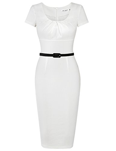MUXXN Women's Vintage Style Scoop Neck Stretch Waist Juniors Midi Dress (White S)