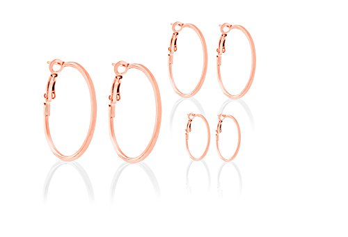 Women's Stainless Steel Hoop Earring 3 Pair Set Available in Gold Rose Gold Silver (Rose (Michele Vintage Earrings)