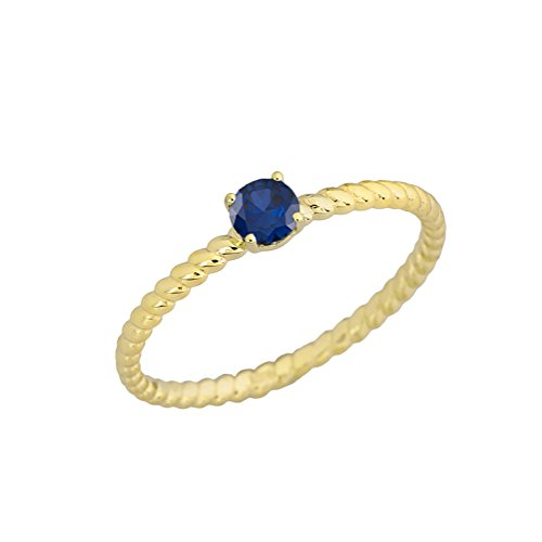 Dainty 10k Yellow Gold Stackable Sapphire Solitaire Rope Engagement/Promise Ring (Size 5.75)