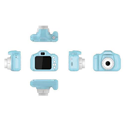 OUYAWEI 2 Inch HD Screen Chargable Digital Mini Camera Kids Cartoon Cute Camera Toys Outdoor Photography Props for Child Blue
