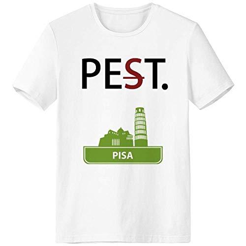 Pisa Italy Green Landmark Pattern Pet But Not Pest White T-Shirt Short Sleeve Crew Neck Sport