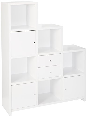 - Coaster Home Furnishings Asymmetrical Bookcase with Cube Storage Compartments White