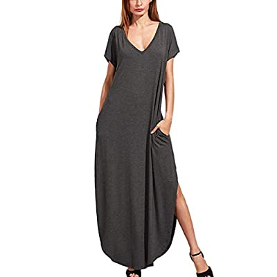 Dressin Women's Dress Ladies Casual Loose Pocket Long Dress Short Sleeve Split Maxi Dresses Solid Deep V Beach Dresses