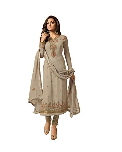 (Delisa Indian/Pakistani Fashion Salwar Kameez for Women 01 (Grey, LARGE-42))