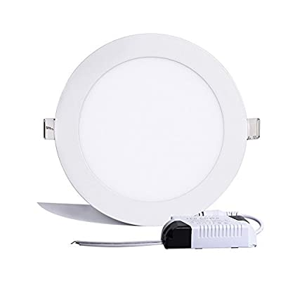 B-right 12W 6-inch Ultra-thin Round LED Panel Light, 850lm, 80W Incandescent Equivalent, 3000K Warm White, LED Recessed Ceiling Lights for Home, Office, Commercial Lighting by B-right