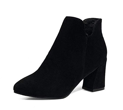 Women's Simple Elegant Dressy Round Toe Ankle Booties High Heeled Short Boots (Black1 Lable 35/4.5 B(M) US Women)