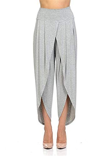coollight Casual High Waisted Wide Leg Palazzo Pants Trousers Flowing Palazzo Pants(Grey XXX-Large)