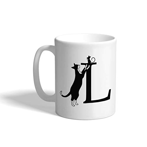 Custom Coffee Mug 11 Ounces Alphabet Letter L Cat Monograms Ceramic Tea Cup Design Only