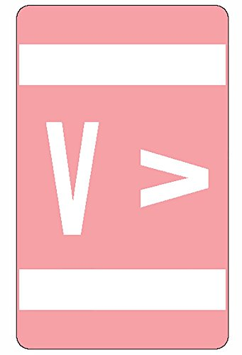 Smead AlphaZ ACCS Color-Coded Alphabetic Label, V, Pink, 100 labels per Pack (67192)