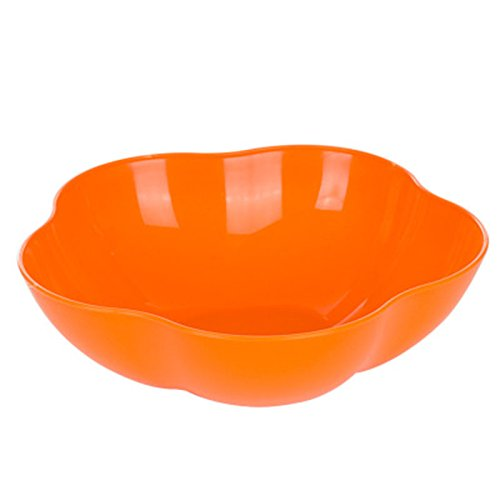 (Everyfit Plastic Bowls Fruit Bowl Salad Bowl Candy Dish Seeds Bowl Tray Dried Snack Tray Household bowl,Party Serving Bowls,Multipurpose Colorful bowl (Flower shape, Orange) )
