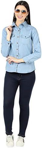 DNEXT Denim Formal Shirts for Women and Girls Regular Fit