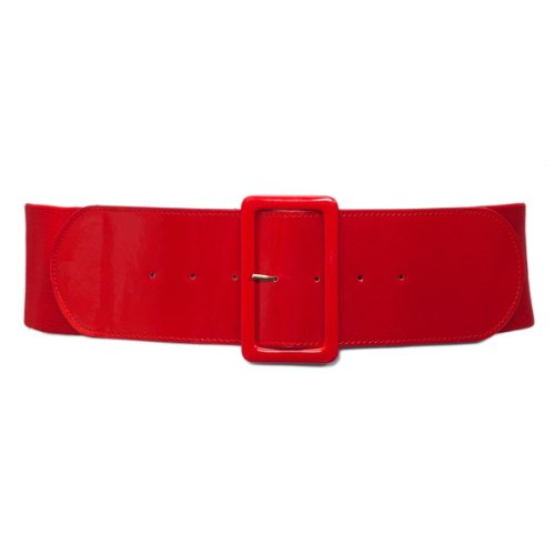 (eVogues Women's Wide Patent Leather Fashion Belt Red - One Size Junior)