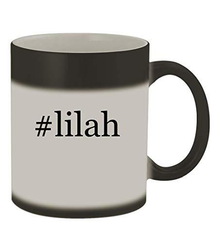 #lilah - 11oz Color Changing Hashtag Sturdy Ceramic Coffee Cup Mug, Matte Black]()