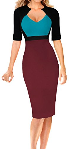 - LunaJany Women's Sexy V Neck Short Sleeve Color Block Wear To Work Pencil Dress L greenred1