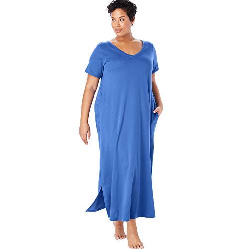 Blue Lounger - Dreams & Co. Women's Plus Size Maxi Lounger - True Blue, L