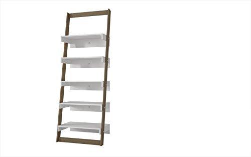 (Manhattan Comfort Carpina Collection Modern Decorative 5 Tier Leaning Floating Ladder Shelf Design, White and Oak Frame)