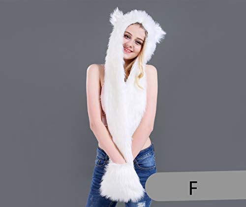 78f38a28f6d KKING Faux Fur Animal Hat Scarf Gloves Mittens 3-in-1 Function Furry Hoodie