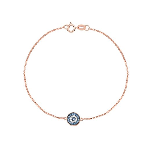 Victoria Kay Diamond Accented Blue Sapphire Evil Eye Bracelet in 14k Rose Gold (J-K, I2-I3)