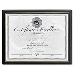 DAX Black & Gold Certificate Frames - Holds 8.50