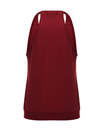 ZANZEA Mujer Camiseta sin Mangas Blusa Algodón Cuello Halter Elegante Playa Deportiva Burdeos