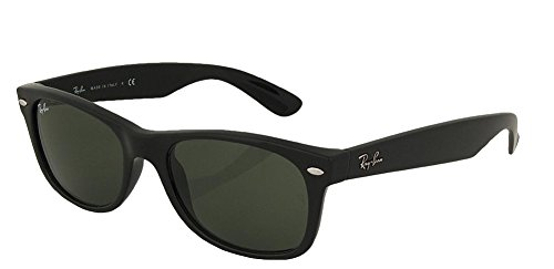 Ray-Ban RB2132 New Wayfarer Sunglasses Unisex (Matte Black Frame Solid Black G15 Lens, 55)