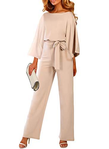 Happy Sailed Womens Long Sleeves Elegant Playsuit Wide Leg Jumpsuit Romper Belted Medium Apricot