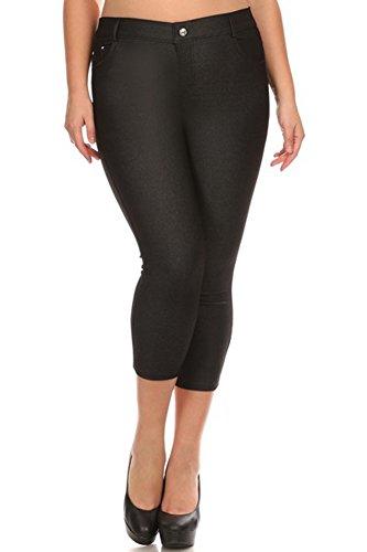 Yelete Womens Basic Solid Color Cotton Blend Capri Jeggings (Black, 3X)
