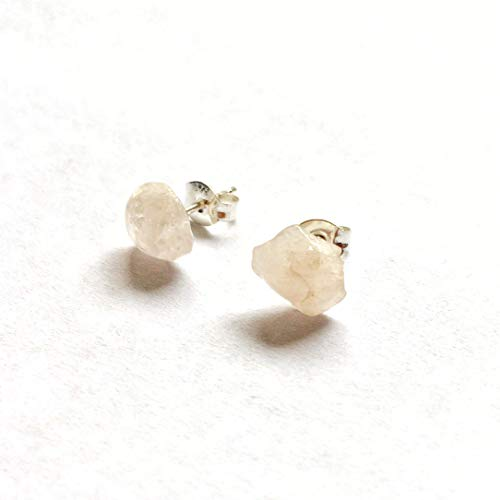 Raw Rose Quartz Studs | Men's and Women's White Gold Healing Crystal Earrings | Pink Gemstone - Heart Chakra