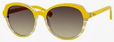 47d406835ec Amazon.com  Dior DUA Striped Yellow Croisette3 Round Sunglasses Lens ...