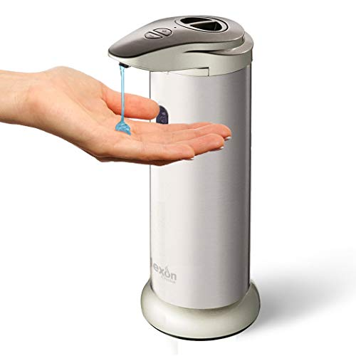 Automatic Soap Dispenser - Brushed Stainless Steel Jar for Kitchen, Bath, Restroom, Laundry; Best for Liquid Dish, Hand Soaps, Sanitizer, Lotion -No Pump Water Resistant bottle from Nexon Choice 300ml by Nexon Choice