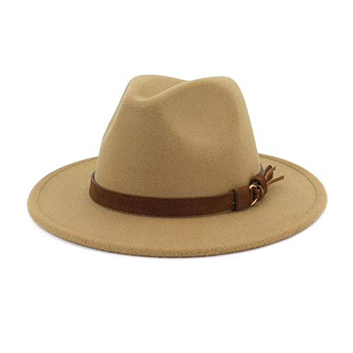 Lisianthus Men & Women Vintage Wide Brim Fedora Hat with Belt Buckle Camel 59-60cm]()