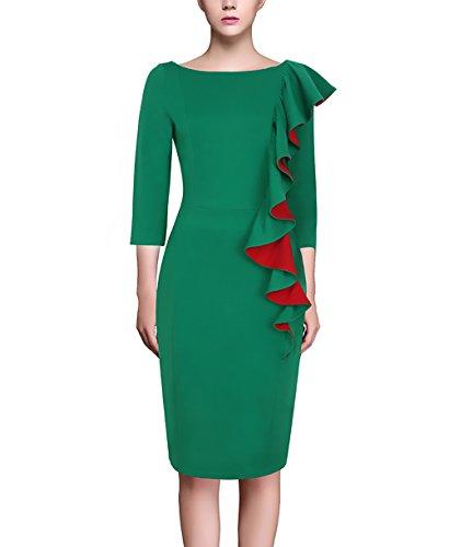 Festivo Tubino Slim Sera Matita Eleganti Donna Verde Autunno Collo Abbigliamento  Manica Dell anca Vestiti Ginocchio Da Del Pacchetto ... e390a970444