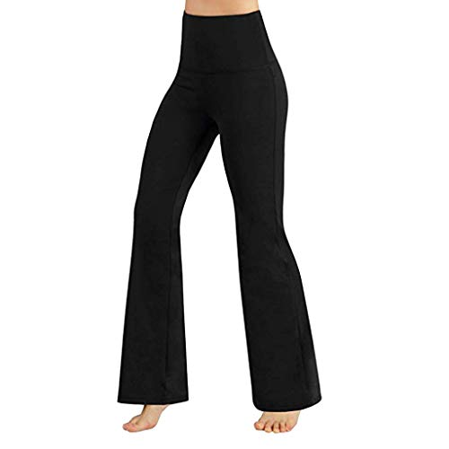 Sunyastor Women Boot Cut Yoga Pants Stretch Bootleg High Waisted Tummy Control Workout Leggings Long Bootleg Flare Pants Black